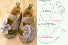 moldes-y-modelos-para-hacer-zapatillas-de-tela-para-bebes-5 Baby Doll Shoes, Felt Baby Shoes, Doll Shoe Patterns, Baby Shoes Pattern, Baby Sandals, Baby Booties, Sewing For Kids, Baby Sewing, Baby Shoes Tutorial