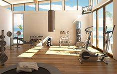 gorgeous gym with bamboo floor!