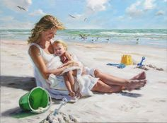 Kai Fine Art is an art website, shows painting and illustration works all over the world. Beautiful Paintings, Beautiful Images, Painting Competition, Madonna And Child, Mother And Child, Beach Art, Portrait Art, Portraits, Make Time