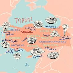 Illustrated food map of Turkey by Theresa Grieben. Babbel has commissioned me for another map! This time it was about Turkish dishes and delicacies, that are typical for certain parts of the country. Since I'm working in Neukölln I got to try some of that food already here in Berlin, my favourite being 'Manti' at Gözleme Restaurant.