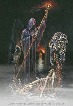 Grim Reaper bringing a body across the river styx #gothic #horror #darkness