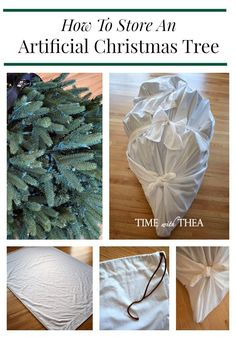 How To Store An Artificial Christmas Tree ~ This is a very doable and practical DIY idea for storing a large artificial Christmas tree by sewing different storage bags for each section of the tree. Storing an artificial Christmas tree in sections takes up a lot less storage space in the house and makes it so easy to retrieve and return it back to its storage place. / timewiththea.com