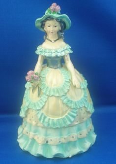 Victorian Lady Trinket Box-Mint Green and Yellow - Trinket Boxes http://bit.ly/Ax8Ffw #teamsellit