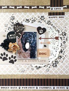 Kaisercraft : Furry Friends Collection : A dog's life layout by Amanda Baldwin