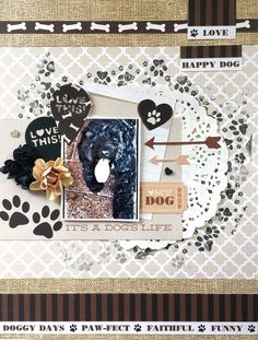 Kaisercraft : Furry Friends Collection : A dog's life layout by Amanda Baldwin