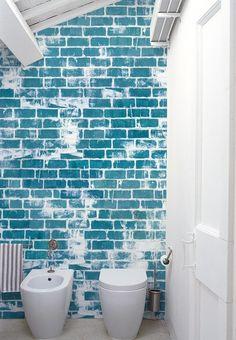 #brick effect #wallpaper BLUE LIMIT by Wall&decò | #design Christian Benini #blue @wallanddeco