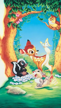 "Wallpaper for ""Bambi"" Mickey Mouse Wallpaper, Disney Phone Wallpaper, Cartoon Wallpaper, Iphone Wallpaper, Wallpaper Art, Arte Disney, Disney Art, Disney Movies, Disney Pixar"