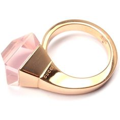 Great Gucci Pink Quartz French Horn Rose Gold Band Ring ILS liked on