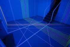 <p>Jeongmoon Choi uses store-bought fluorescent cords to create these black-light wonderlands of perfect, space-altering geometry.</p>