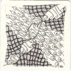 Ein Zentangle aus den Mustern Pokerooty, Puf, Ruflz,  gezeichnet von Ela Rieger, CZT
