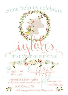 Unicorn Birthday Party Invitation Printable Hand by lettersbyjane