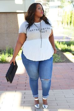 Plus Size Raw Hem Boyfriend Jeans | Plus Size Fashion | Pinterest ...