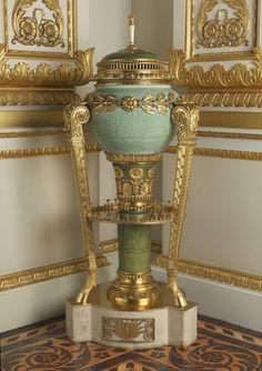 The Royal Collection: Celadon jar mounted on a tripod gilt bronze pedestal as a pot-pourri with cover Jingdezhen, Jiangxi Province, China 18th century, mount:1822