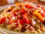 Orzo with roasted peppers and Italian turkey sausage.  I've made this dozens of times, and it's wonderful.  I do use a full pound of sausage, though.  :)