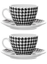 Houndstooth Cups Saucers Set