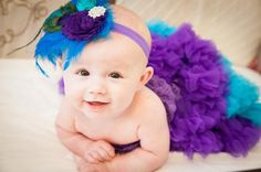 Posh Peacock Turquoise and Purple Couture by PeekABootiqueDesigns, $24.50