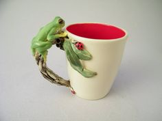 Frog & Ladybugs Mug pottery wheel formed and by HopnFrogPottery, $75.00