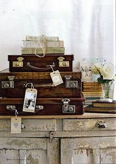 ♕ vintage suitcases for studio storage <3