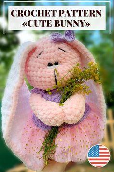 Crochet Bunny Pattern, Crochet Patterns Amigurumi, Amigurumi Tutorial, Amigurumi Toys, Stuffed Toys Patterns, Crochet Animals, Knitting, Handmade, Etsy