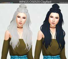 """kotcatmeow: """" WINGS Hair Clayified Mesh by Thank you! Sims Four, Sims 4 Mm Cc, Sims 4 Cas, My Sims, Brown Hair Female, Female Hair, Hair Clay, Sims Baby, Sims 4 Cc Finds"""