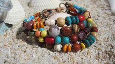 Colorful Boho Beaded Bracelet by BeadDazzlers on Etsy, $28.00