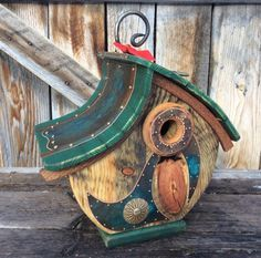 The Half Moon Birdhouse is made from authentic reclaimed barnwood obtained near my home in Western Wyoming in the Valley of Grand Teton National Park. My forest home is the inspiration for my unique one of a kind functional Birdhouses. My Birdhouses are made to specification for all cavity nesting birds. Not only are these Birdhouses artfully designed, they are completely functional and ready for years of outdoor (or indoor), enjoyment. Our Birdhouses are built sturdy and of the finest…