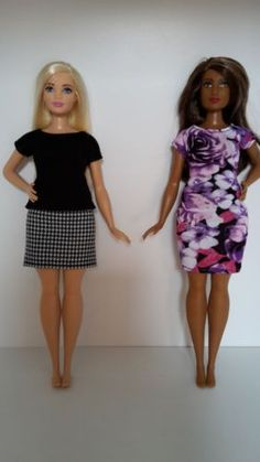Stretchy black top is from my own pattern designed for the new fuller curvy body of the Curvy Fashionista Barbie. Many of the more fitted clothes for these dolls are not interchangeable due to the different body sizes. Barbie Hair, Barbie And Ken, Barbie Clothes, Barbie Room, Black Barbie, Barbie Barbie, Barbie Style, Monster High, Barbie Fashionista