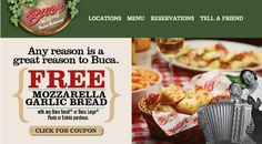 BUCA DI BEPPO $$ Reminder: Coupon for FREE Mozzarella Garlic Bread With Purchase – Expires SUNDAY (1/26)!