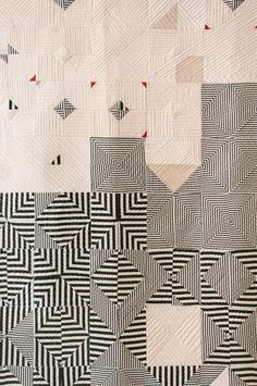 """Patchwork quilt by Pamela Wiley for 🎯 Motifs Textiles, Textile Patterns, Textile Art, Quilt Patterns, Bauhaus Textiles, Anthropologie Art, Black And White Quilts, Quilt Modernen, Contemporary Quilts"