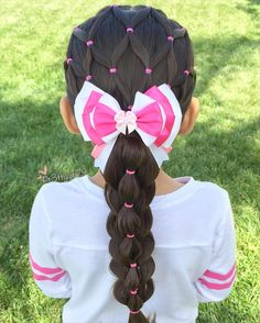 "Patricia Kayliebee on Instagram: ""✨""You are free to choose, but you are not free from the consequences of your choice.""✨ . Elastic net style into a pull through bubble stacked braid . Beautiful aristocats Marie bow from @extrasweetbowtique . #pr3ttyhairstyles #extrasweetbowtique #braidsforlittlegirls"""