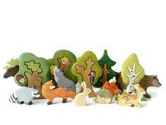BIG SET Animal toys Forest animals 9pcs by WoodenCaterpillar
