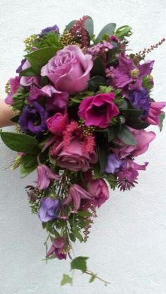Deep pinks & purples, teardrop bouquet