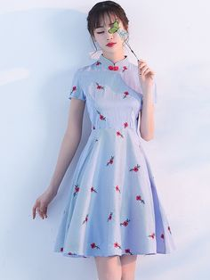 Embroidered Blue Stripped Qipao / Cheongsam Dress