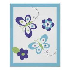 Modern Butterfly Flower Nursery Wall Art Print