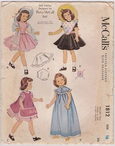 1950s Doll Clothes Pattern McCalls 1812 Dress от FriskyScissors