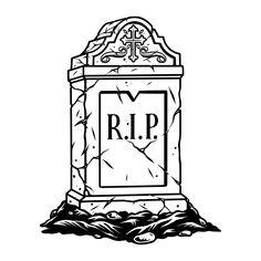 Monochrome Rest in Peace illustration. Created for Halloween apparel designs. www.dgimstudio.com. #rip #burial #cemetery #vector #vectorillustration