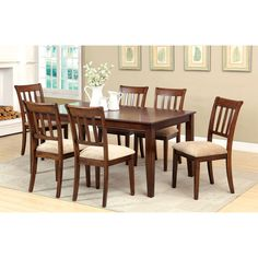 Furniture of America Plainster Brown Cherry 7-Piece Dining Set - Overstock™ Shopping - Big Discounts on Furniture of America Dining Sets