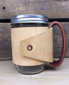 Leather Drinking Mug from Sonder Mill USE WITH ANY MASON JAR YOU ALREADY HAVE