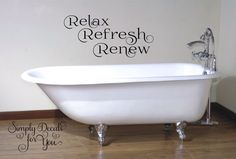 Relax Refresh Renew Bathroom Wall Decal, Bathroom Decal, Wall Decal, Wall Sticker, Home Decor, Vinyl Wall Decal, Decal, Sticker, Wall Decor by SimplyDecalsforYou on Etsy