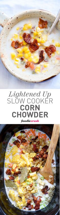 This slow cooker corn soup recipe uses a creamy almond milk and cashew milk blend to create a lush and healthy broth for this veg-heavy chowder with a bacon bite | foodiecrush.com