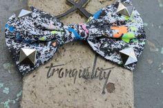 Punky Retro 70 s Punk Rocker Stud, Paint Splatted Print Fabric Hair Bow, Rave, Scene, Hipster. $5.00, via Etsy.