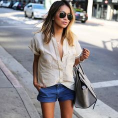 Instagram media by sincerelyjules - Easy breezy today.  / @everlane shirt x @americaneagle shorts
