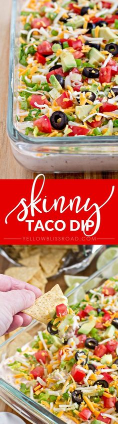 Skinny Taco Dip - A guilt free, lightened up taco dip perfect for game day parties.