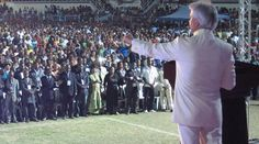 There was such an amazing atmosphere of faith during both services at Malabo's Estadio La Paz, and the 50,000-strong crowds erupted again and again in praise and worship.