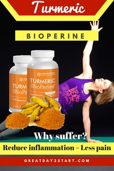 How to get rid of inflammation, reduce joint pain and burn fat? Turmeric with BioPerine which is more effective than Turmeric alone! Best Diet Plan For Weight Loss, Weight Loss Chart, Best Weight Loss Program, Fast Weight Loss Tips, Weight Loss Tea, Healthy Weight Loss, How To Lose Weight Fast, Body Cleanse, Reduce Inflammation