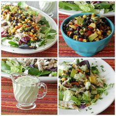 Southwest Chicken Salad with Guacamole Ranch Dressing via @Cooking with Curls