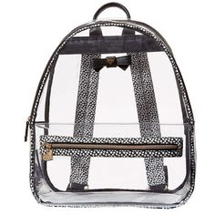 Betsey Johnson Back to School Clear as Can BE Backpack (1,565 MXN) ❤ liked on Polyvore featuring bags, backpacks, backpack, blk polka dot, clear bags, polka dot backpacks, pink transparent backpack, dot backpack and zip bag