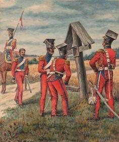 Exceptionnel-Kouliov-gouache-originale-2e-lanciers-de-la-garde-en-1812