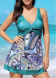 Padded Open Back Printed Swimdress and Shorts on sale only US$29.46 now, buy cheap Padded Open Back Printed Swimdress and Shorts at liligal.com