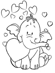 Влюблённый слонёнок - razukrashki.com